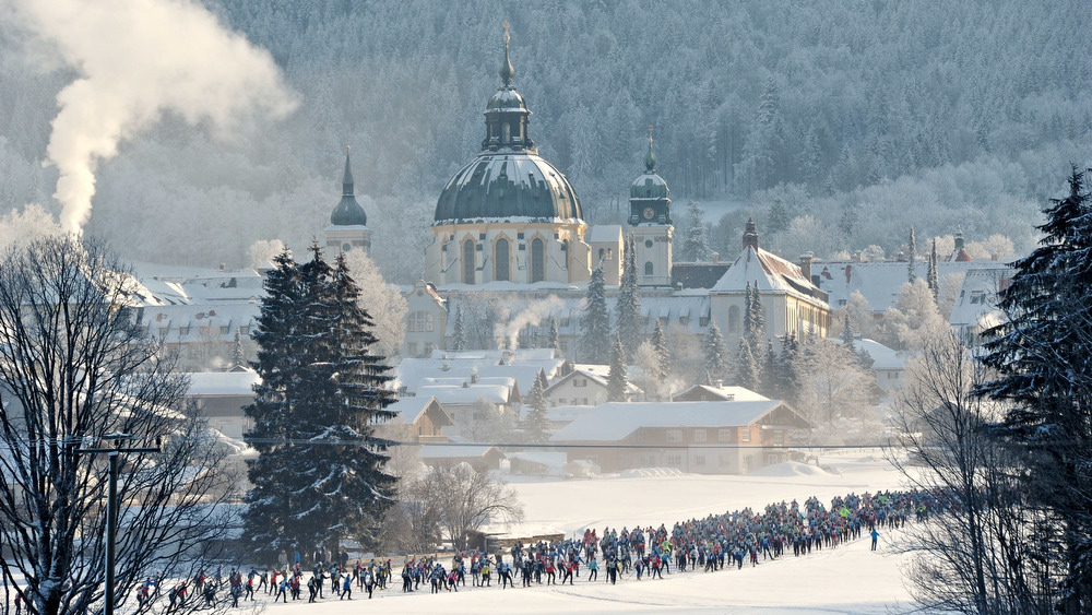 04.02.2012, Oberammergau, Germany (GER): start of the 50k race with Kloster Ettal in the background - Koenig Ludwig Lauf, Oberammergau (GER). www.nordicfocus.com. © Felgenhauer/NordicFocus. Every downloaded picture is fee-liable.