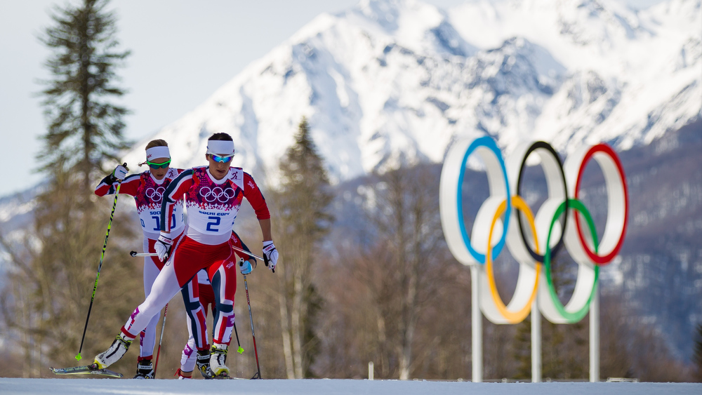 22.02.2014, Sochi, Russia (RUS): Marit Bjoergen (NOR), Fischer, Swix, Rottefella followed by Kristin Steira (NOR), Madshus, One Way, Salomon, Swix - XXII. Olympic Winter Games Sochi 2014, cross-country, 30km women, Sochi (RUS). www.nordicfocus.com. © NordicFocus. Every downloaded picture is fee-liable.