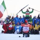 Federico Pellegrino (ITA) feiert mit dem italienischen Team