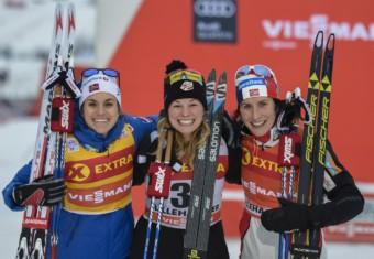 Heidi Weng (NOR), Jessica Diggins (USA), Marit Bjoergen (NOR) (l-r)