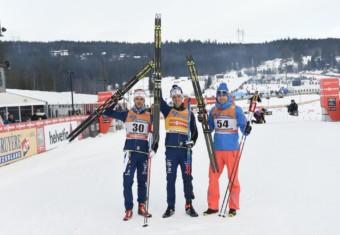 Marcus Hellner (SWE), Calle Halfvarsson (SWE), Sergey Ustiugov (RUS), (l-r)