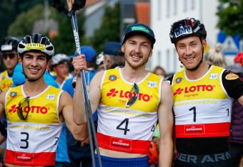 So sehen Sieger aus: Ilkka Herola (Mitte) gewinnt vor Mario Seidl (rechts) und Manuel Einkemmer (links).