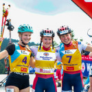Die drei erstplatzierten Damen: (l-r) Ema Volavsek (SLO), Gyda Westvold Hansen (NOR), Mari Leinan Lund (NOR).