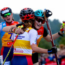 Glückwünsche: Gyda Westvold Hansen umarmt Ema Volavsek.