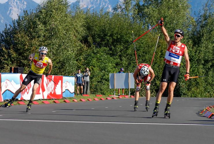 Ein knapper Zieleinlauf: Ilkka Herola (FIN), Martin Fritz (AUT) und Mario Seidl (AUT) blieben innerhalb einer Sekunde.
