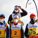 Das Podium der Herren: (l-r) Mario Seidl (AUT), Terence Weber (GER), Vinzenz Geiger (GER), Martin Fritz (AUT), Johannes Rydzek (GER), Ilkka Herola (FIN).