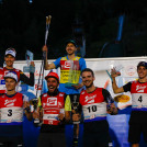 Die Top 6 bei den Männern: (l-r) Mario Seidl (AUT), Kristjan Ilves (EST), Johannes Rydzek (GER), Ilkka Herola (FIN), Joergen Graabak (NOR), Stefan Rettenegger (AUT).