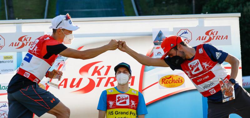 Sommer Grand Prix: Check, wissen Mario Seidl (AUT), Ilkka Herola (FIN) und Johannes Rydzek (GER).