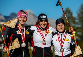 Die drei siegreichen Damen: Eva Hubinger, Lisa Hirner, Marit Weichselbraun (l-r).